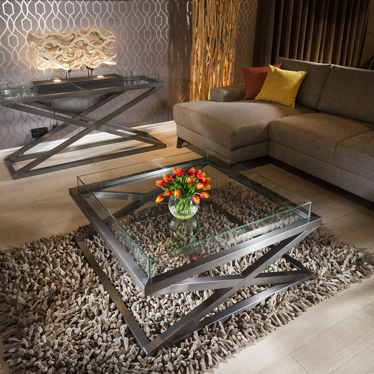 Premium Modern Large Square Coffee Table Glass Top Stainless Hattie