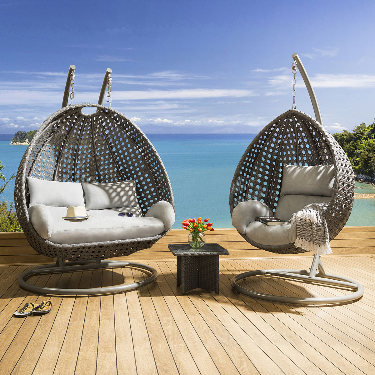 Sentinel Outdoor Garden Single And Double Hanging Pod Chair Set Grey Silver