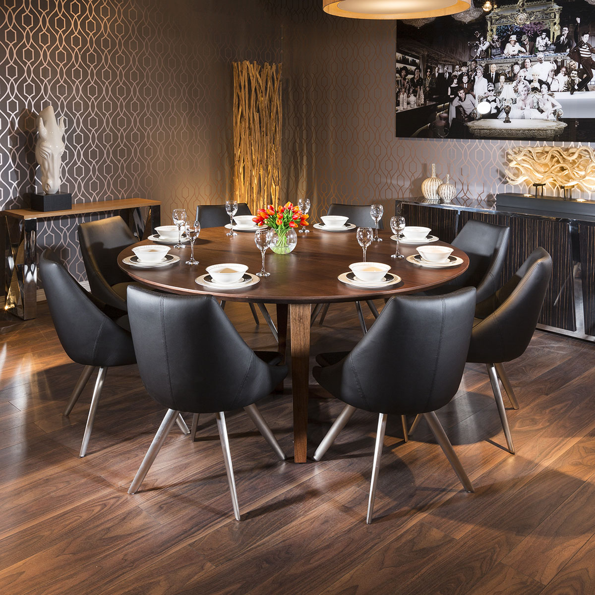 detailed look 1a344 bdc1b Details about Luxury Large 1.8m Round Walnut Dining Table + 8 x Modern  Black Chairs