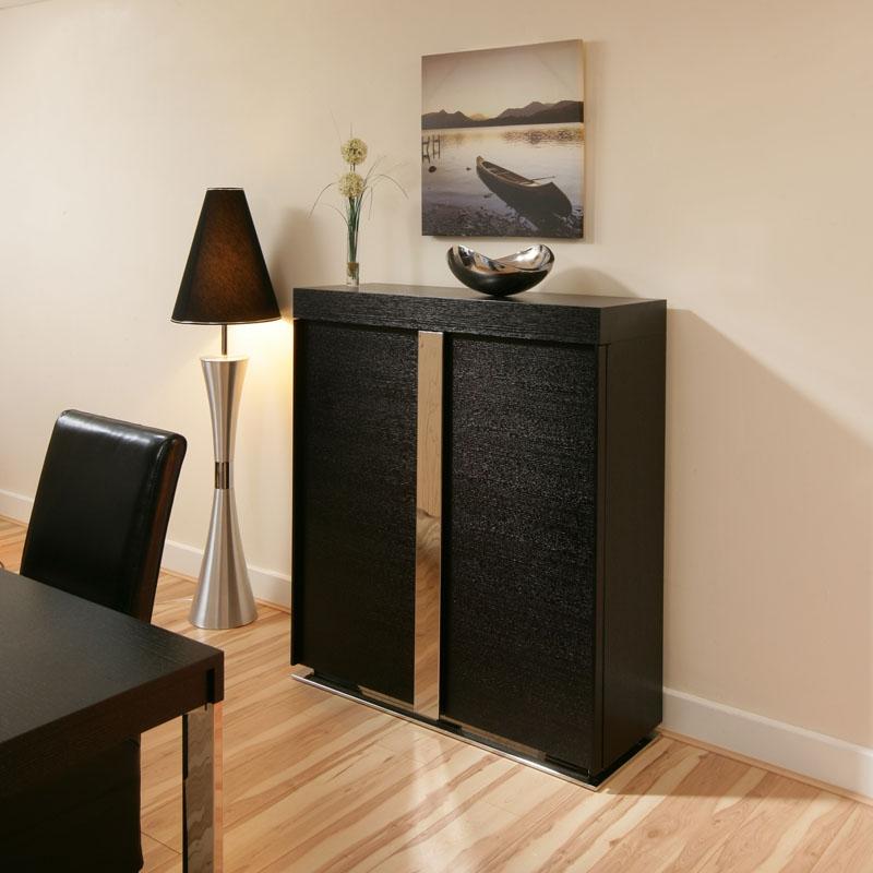 Sentinel Oak Tall Sideboard Cabinet Buffet Cupboard In Black 912h New