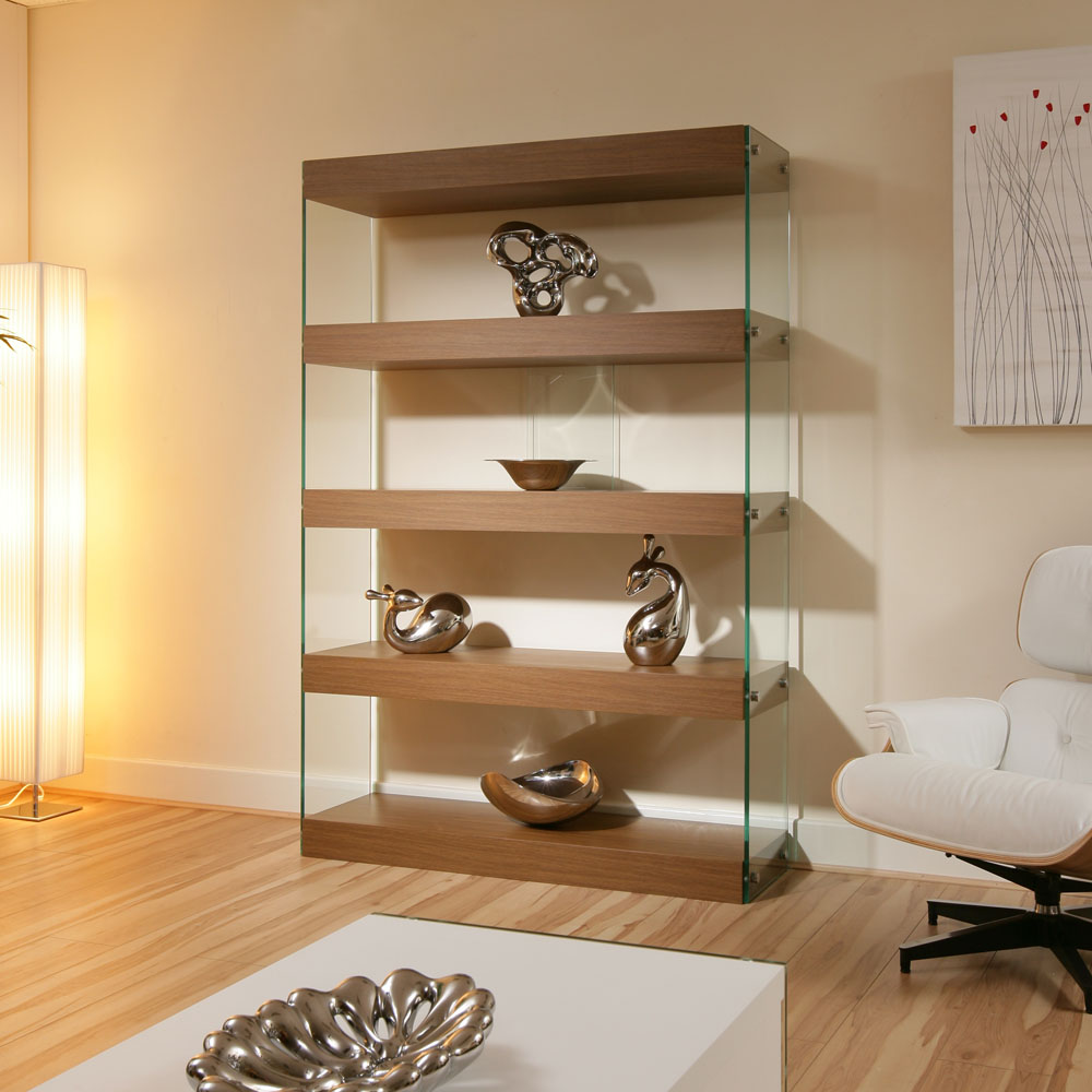 Display cabinet shelving unit shelves walnut glass for Modern lounge cabinets