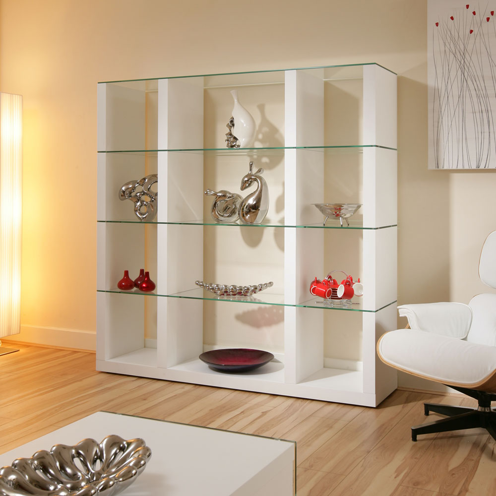 Display cabinet glass shelves shelf white oak wood modern for Modern living room shelving units