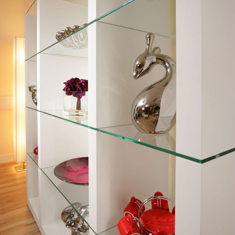 Display Cabinet Glass Shelves/Shelf White Oak Wood Modern