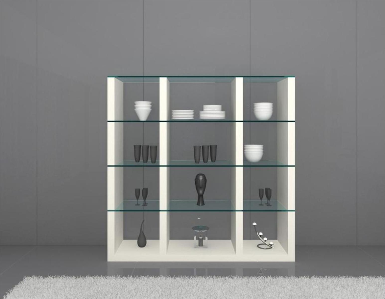 Display Cabinet Glass Shelves Shelf White Oak Wood Modern