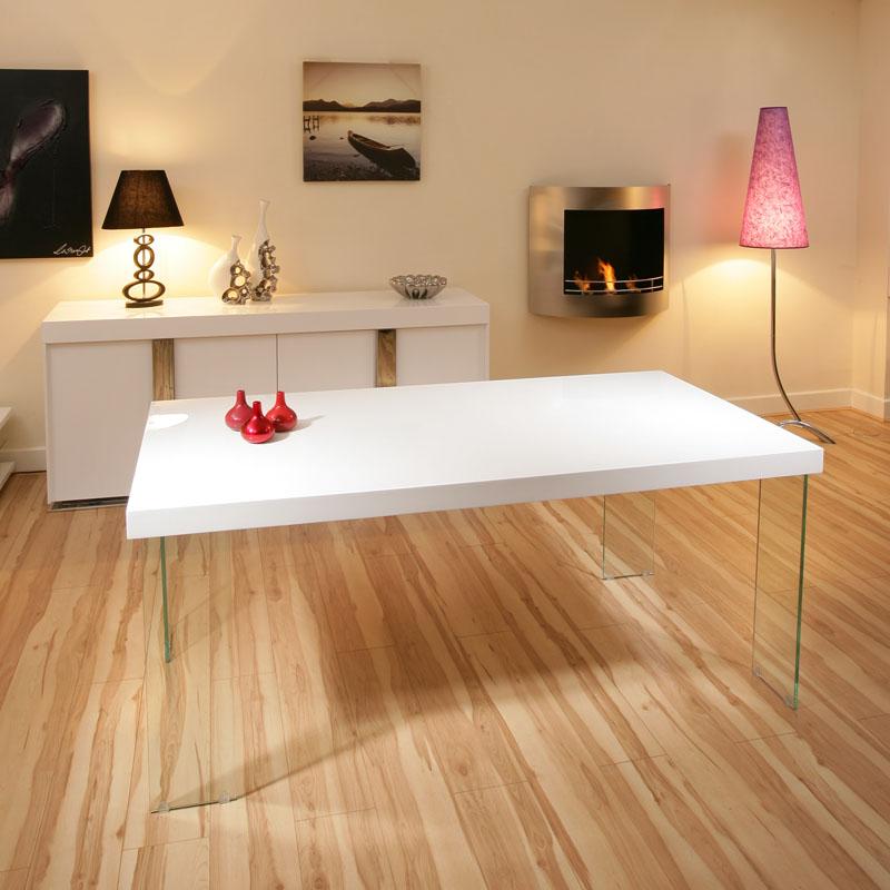 White Gloss Table: AG Design Large Rectangular High Gloss White Dining Table