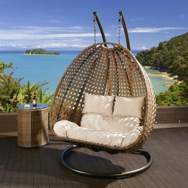 2 Seater Garden Hanging Chair/Sofa Brown Rattan Cream ...