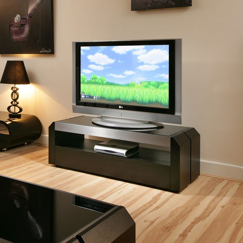 sale retailer 0f530 cbbc3 Details about TV Stand / Cabinet / Unit Black Oak, Black Glass Top, Alum  1.3mtr 701