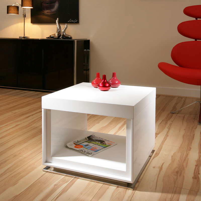 Sentinel Designer End Or Side Table White Gloss Square Modern Beautiful 12B