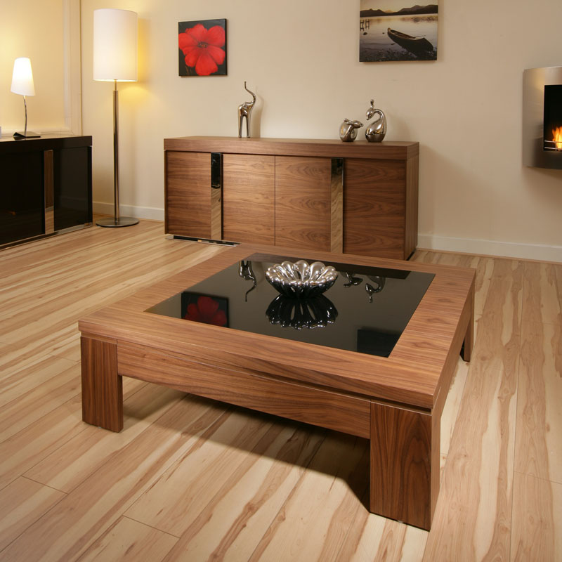 Sentinel Modern Designer Coffee Table Large Square Walnut With Black Gl 71e