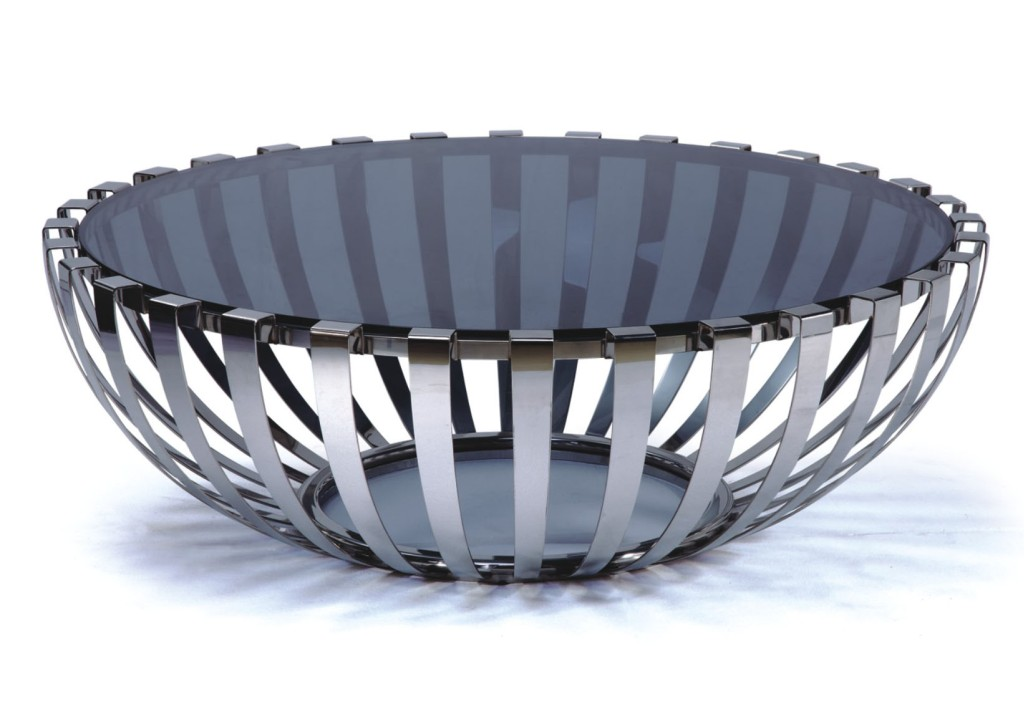 Sentinel Modern Designer Large Round Coffee Table Gl Top Stainless Steel 184