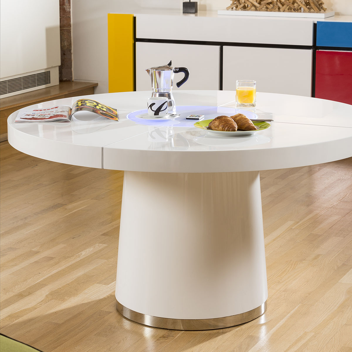 Sentinel Large Round White Gloss Dining Table Glass Lazy Susan Led Lighting 1 4