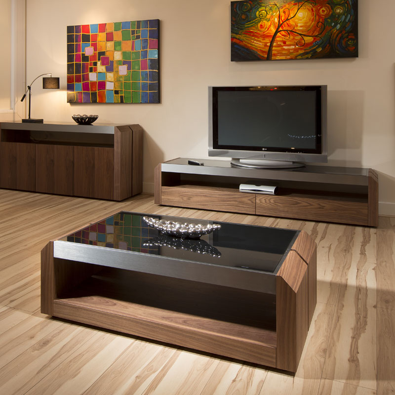 Sentinel Large Walnut / Glass Rectangular Coffee Table Modern Designer 01A