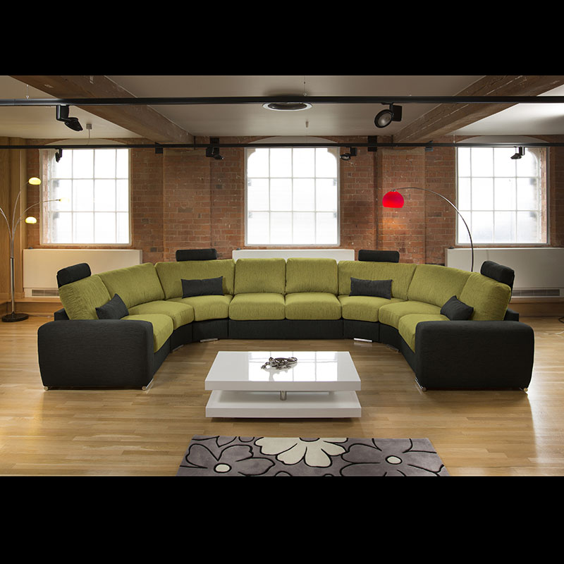 Sentinel Massive Modern High Quality U Shape Sofa / Corner Group  Black/Green 25