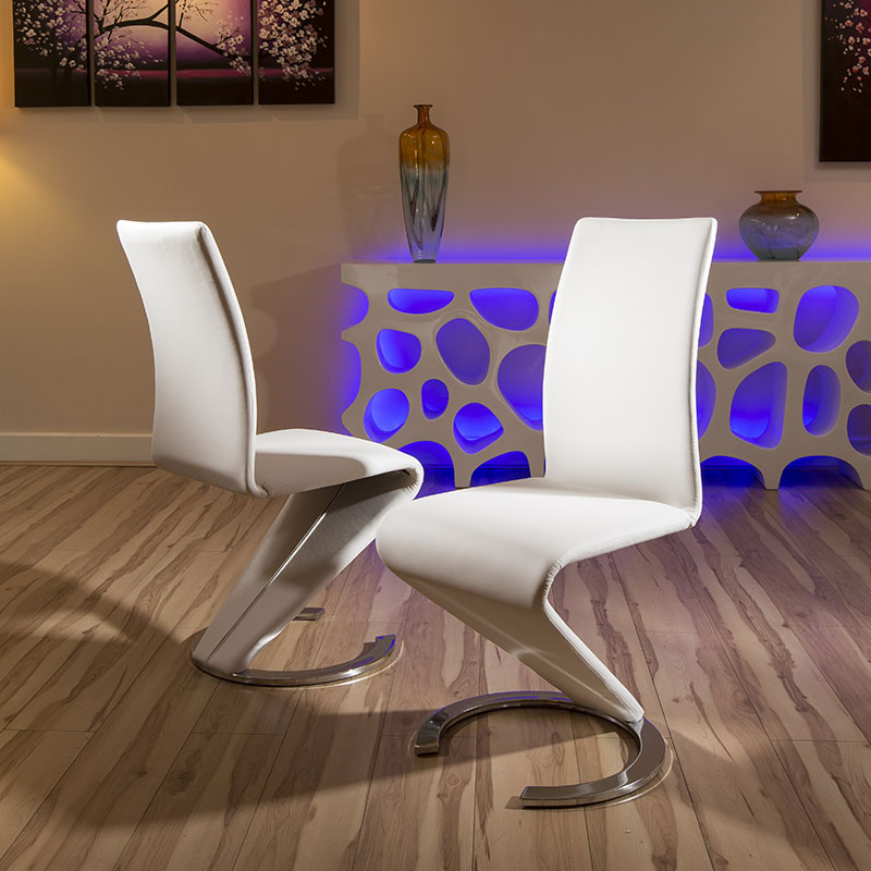 Sentinel Dining Chair Chairs Set Of 2 White Faux Leather Modern Z Shape C Base