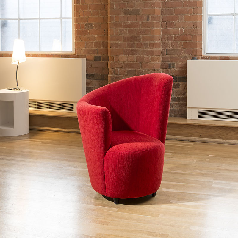 Sentinel Modern Large Curved Red Fabric Armchair / Armchairs / Tub Chair/ Chairs