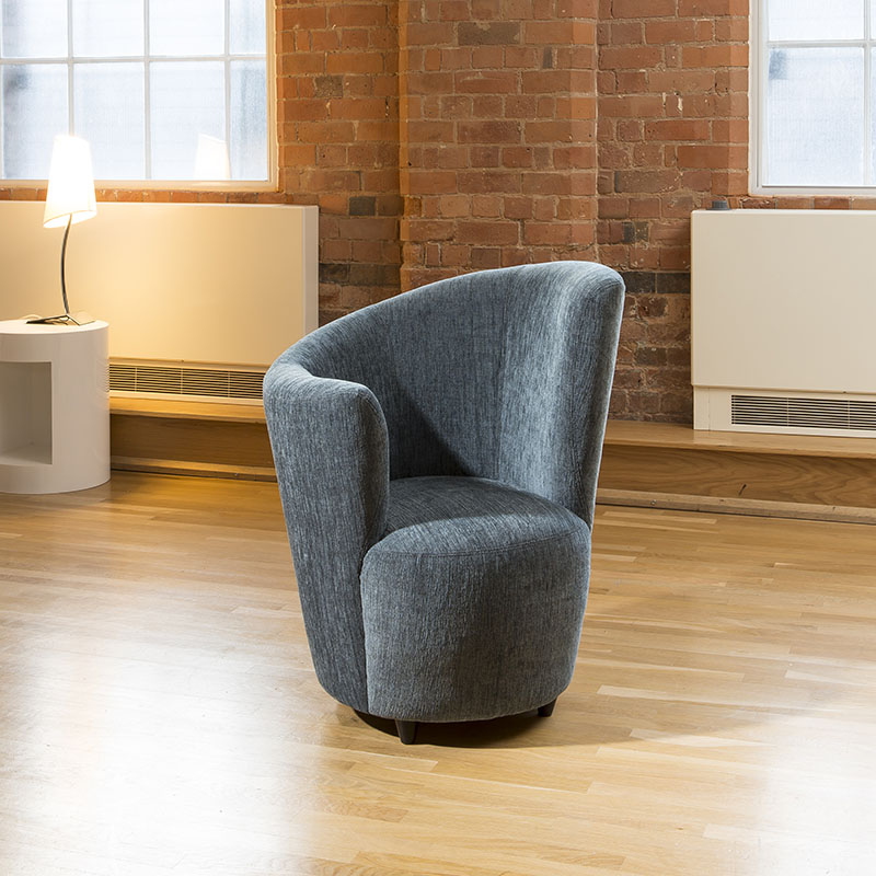 Good Sentinel Modern Large Curved Blue Fabric Armchair / Armchairs /Tub Chair/ Chairs