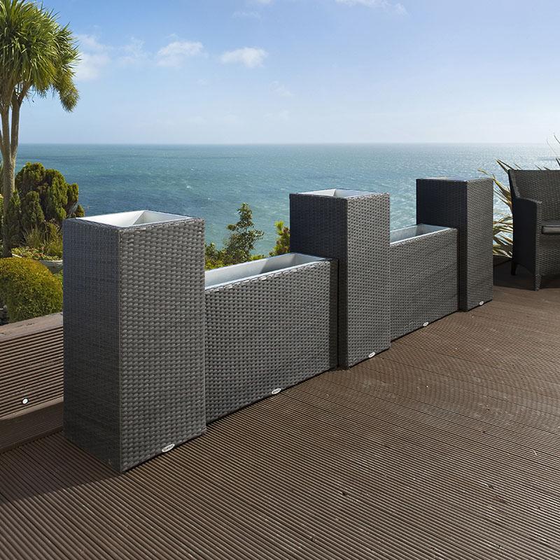 Luxury Outdoor Garden Wall Set of 5 Black Rattan Planters