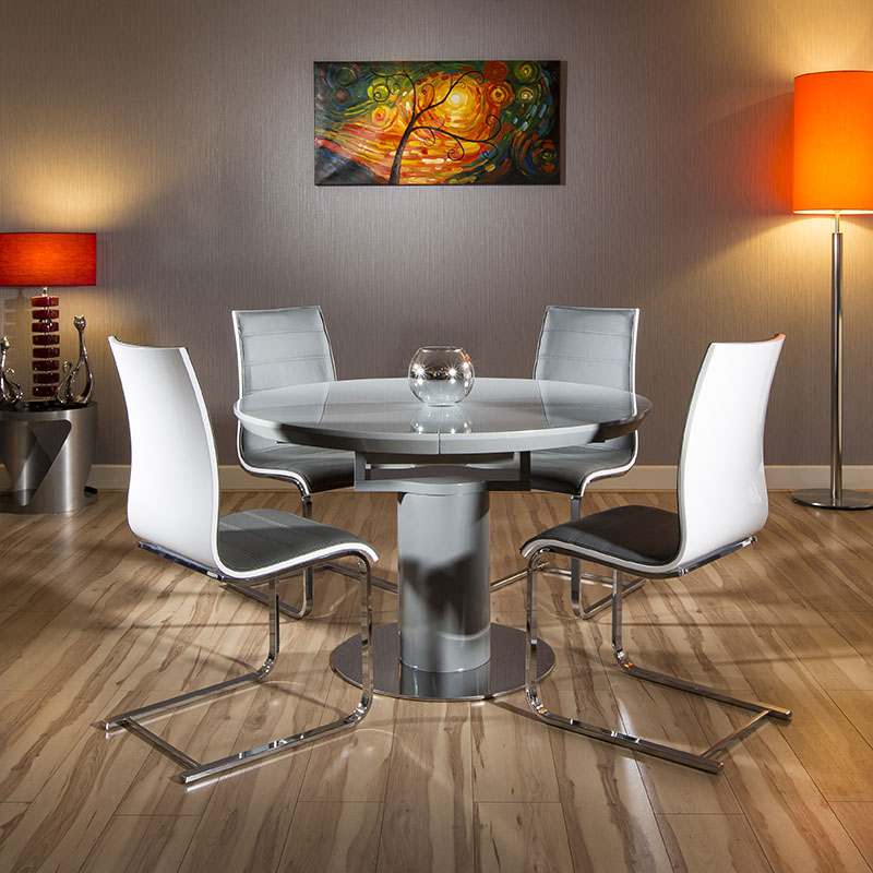 Round / Oval Extending Dining Set Grey Gloss Table 4 White ...