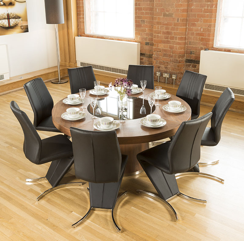 Details About Luxury Large Round Walnut Dining Table Lazy Susan 8 Z Chairs 3104 Blk