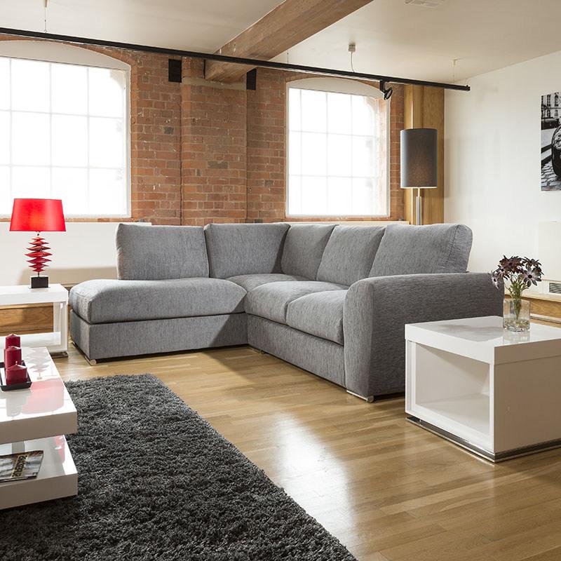 Sentinel Modern L Shape Sofa Set Settee Corner Group 265x210cm Grey Fabric L