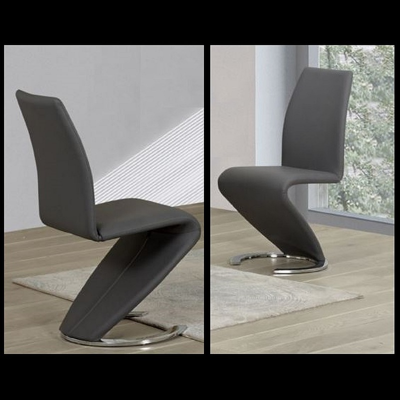 Sentinel Dining Chair Chairs Set Of 2 Grey Faux Leather Modern Z Shape C Base
