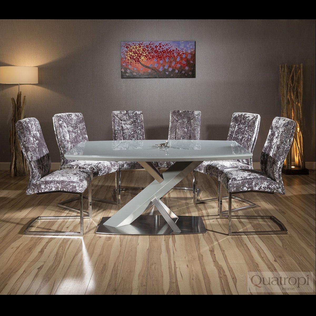 Sentinel Set Of 2 Large Super Comfy Modern Dining Chairs Silver Crushed Velvet