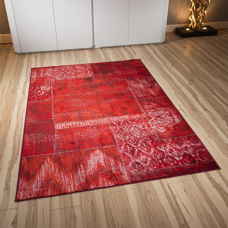 Brick Red Rag Rug: High End Thick Pile Wool Brick Pattern Red/Orange Rug