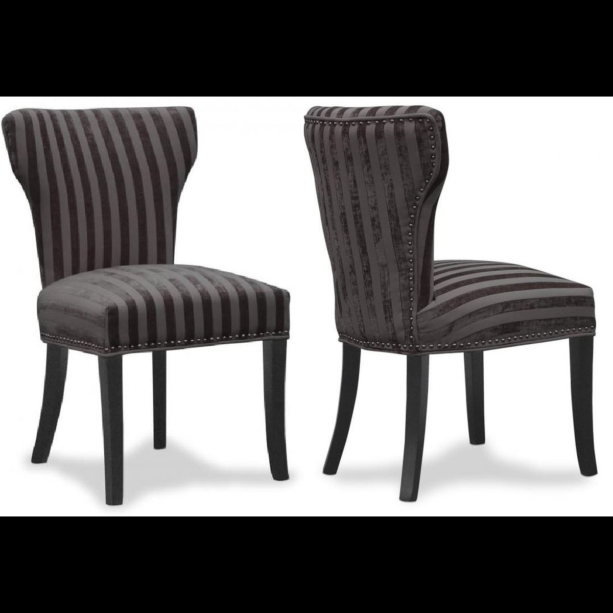 Sentinel Luxury Set Of 2 Wing Back Striped Dining Chairs Black Grey Charcoal