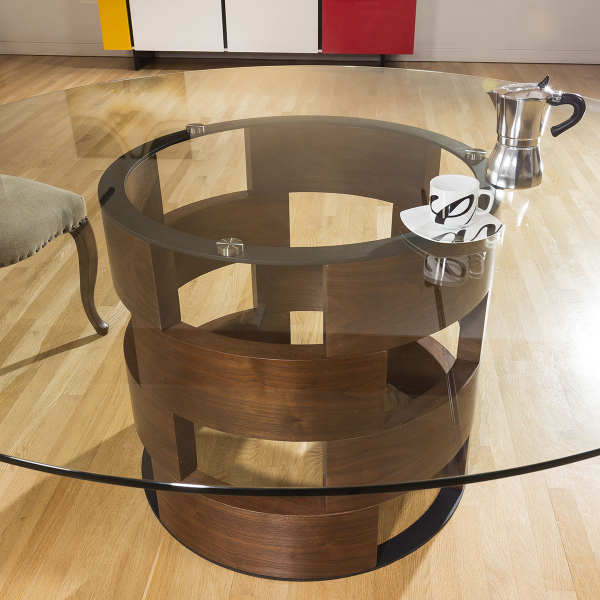 bd43e0667ea3e Sentinel Modern Funky Large Round Walnut and Clear Glass Dining Table 1800mm
