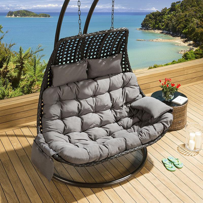 Outdoor Rattan 2 Person Garden Hanging Chair Sunbed Black Grey