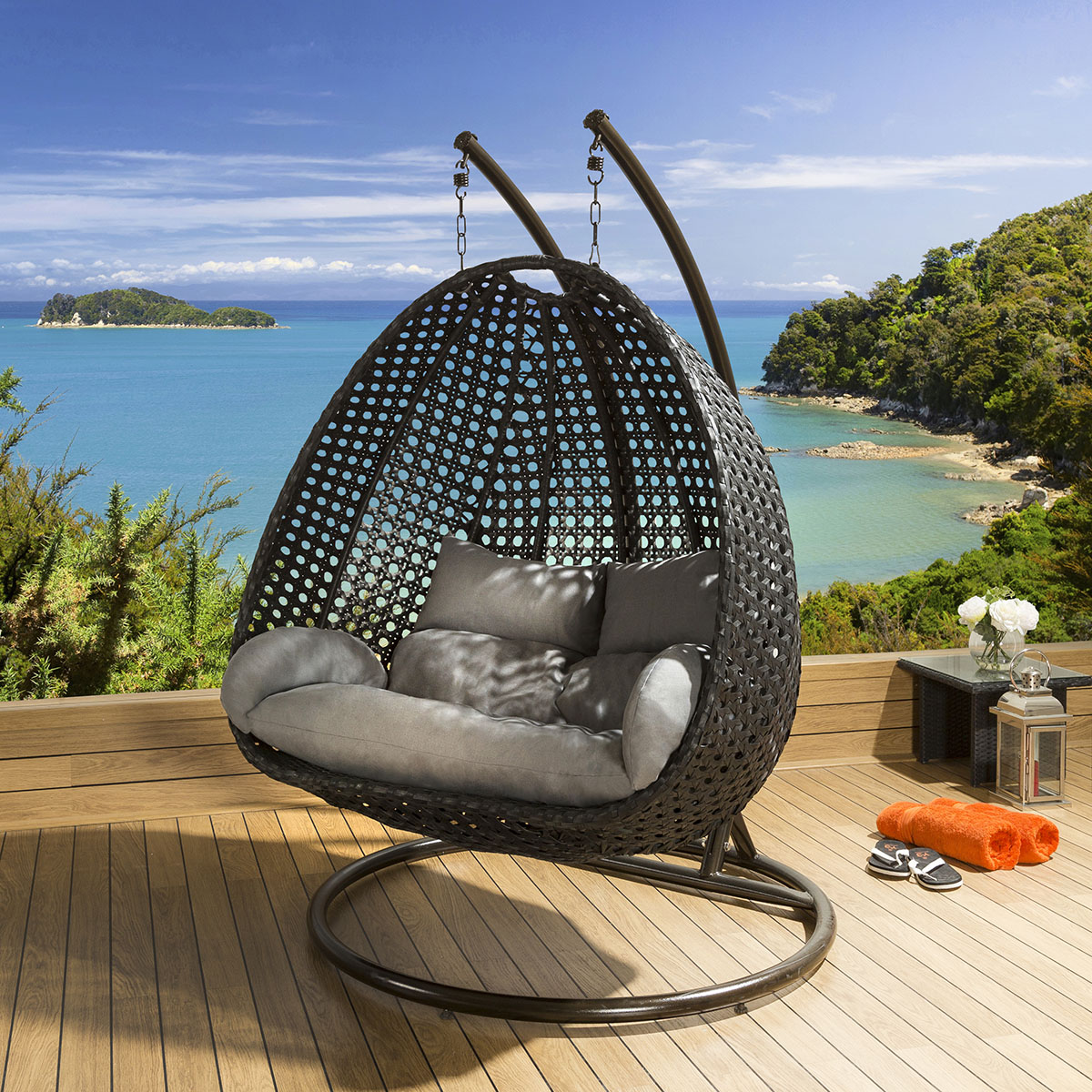 Luxury Outdoor 2 Person Garden Hanging Chair Black Grey