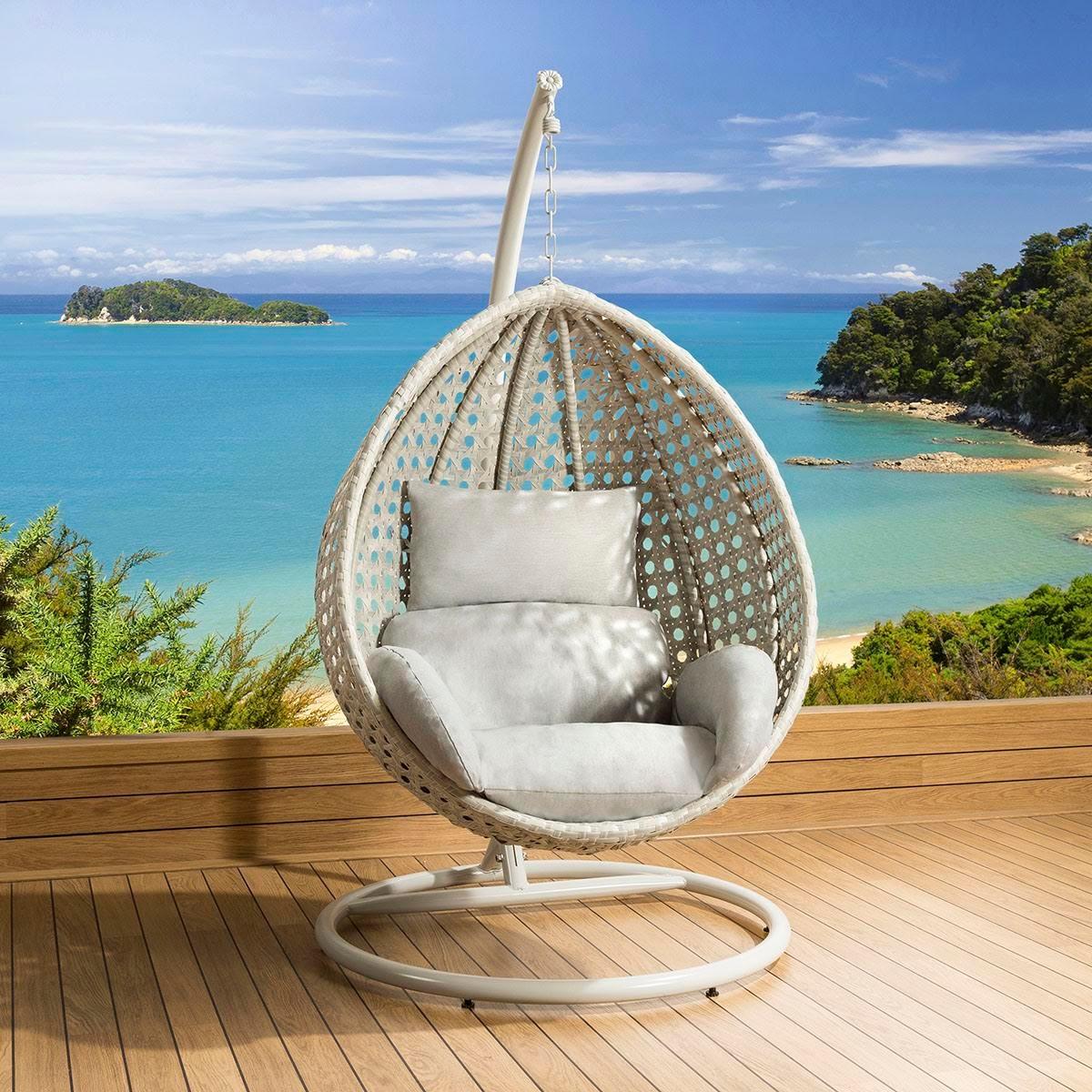 sentinel luxury outdoor garden suspended egg pod cocoon chair stone grey rattan - Garden Furniture Pod