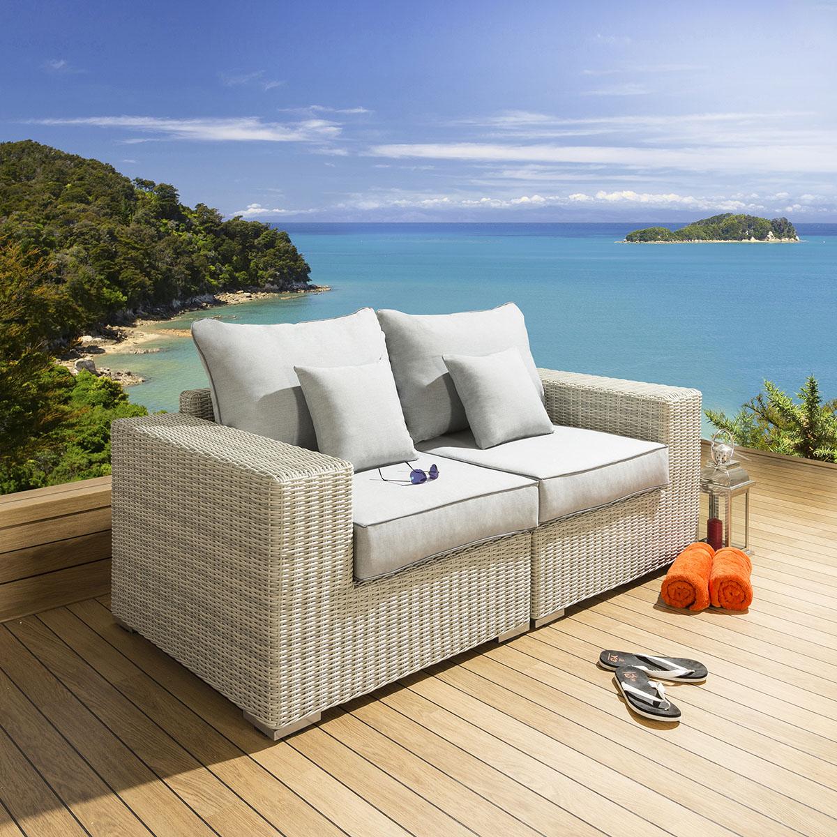 Sentinel Quatropi Luxury Outdoor Garden 2 Seater Sofa Stone Rattan / Grey S2