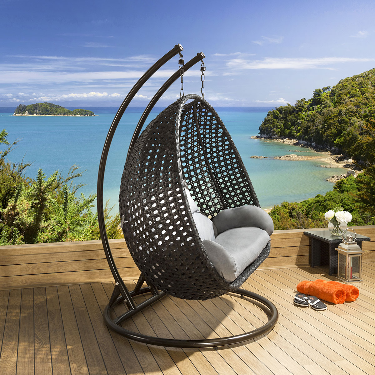 Outdoor Garden Single And Double Hanging Pod Chair Set Black Grey