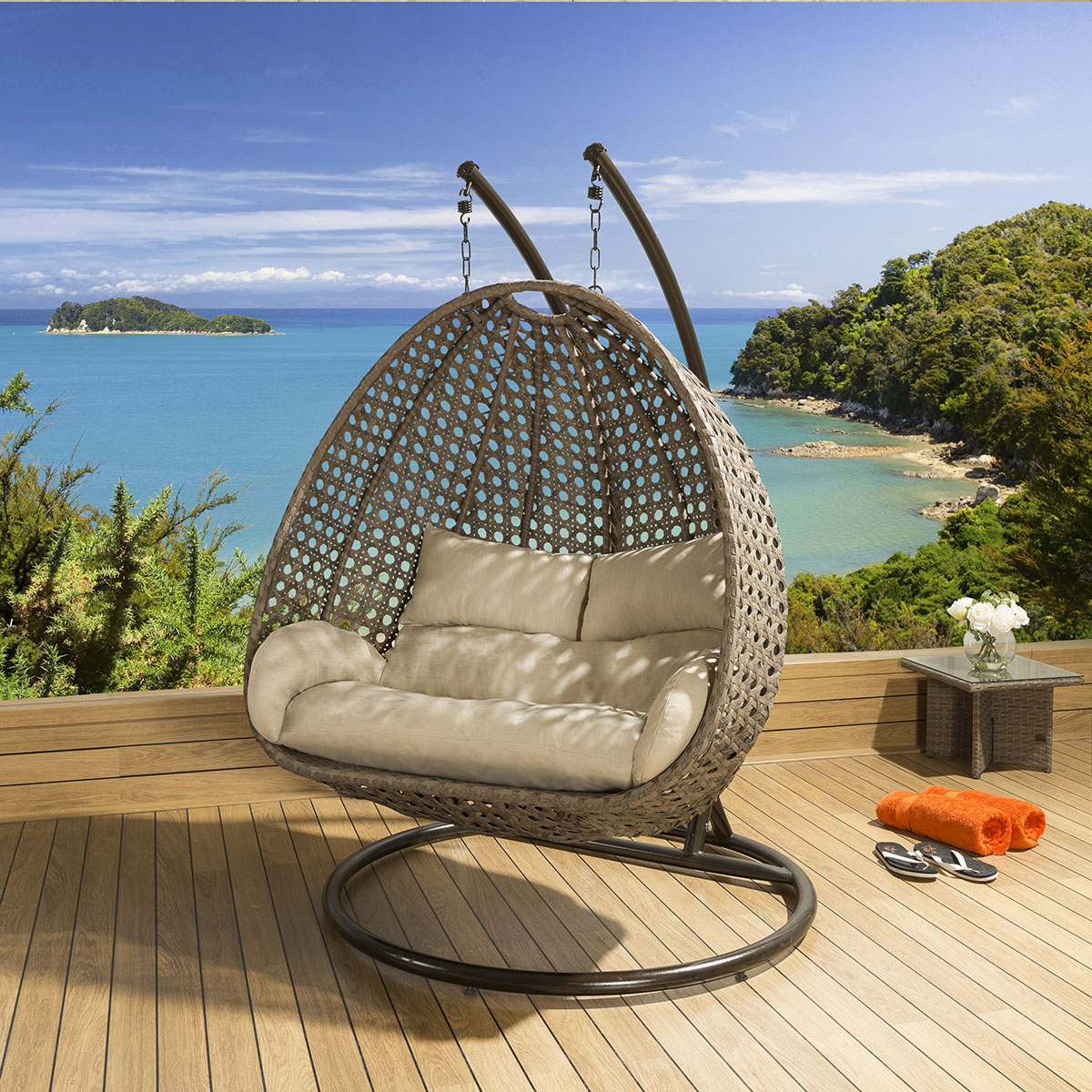 Sentinel Outdoor Garden Single And Double Hanging Pod Chair Set Mocha Beige