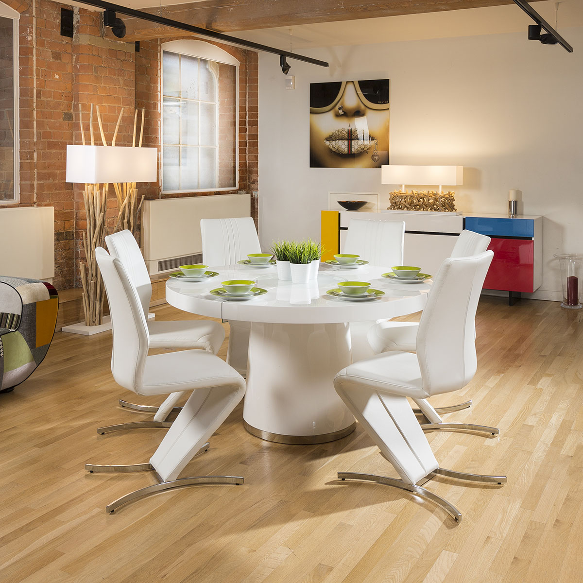 Sentinel Modern 1400mm Round White Gloss Dining Table 6 Beautiful Z Chairs