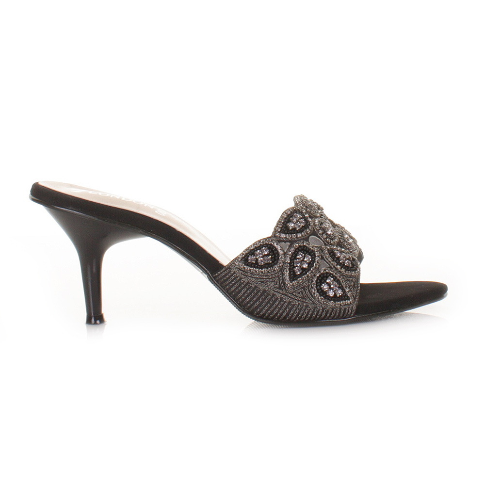 Womens Low Heel Diamante Mule Elegant Evening Sandals Ladies Shoes Size 3-8