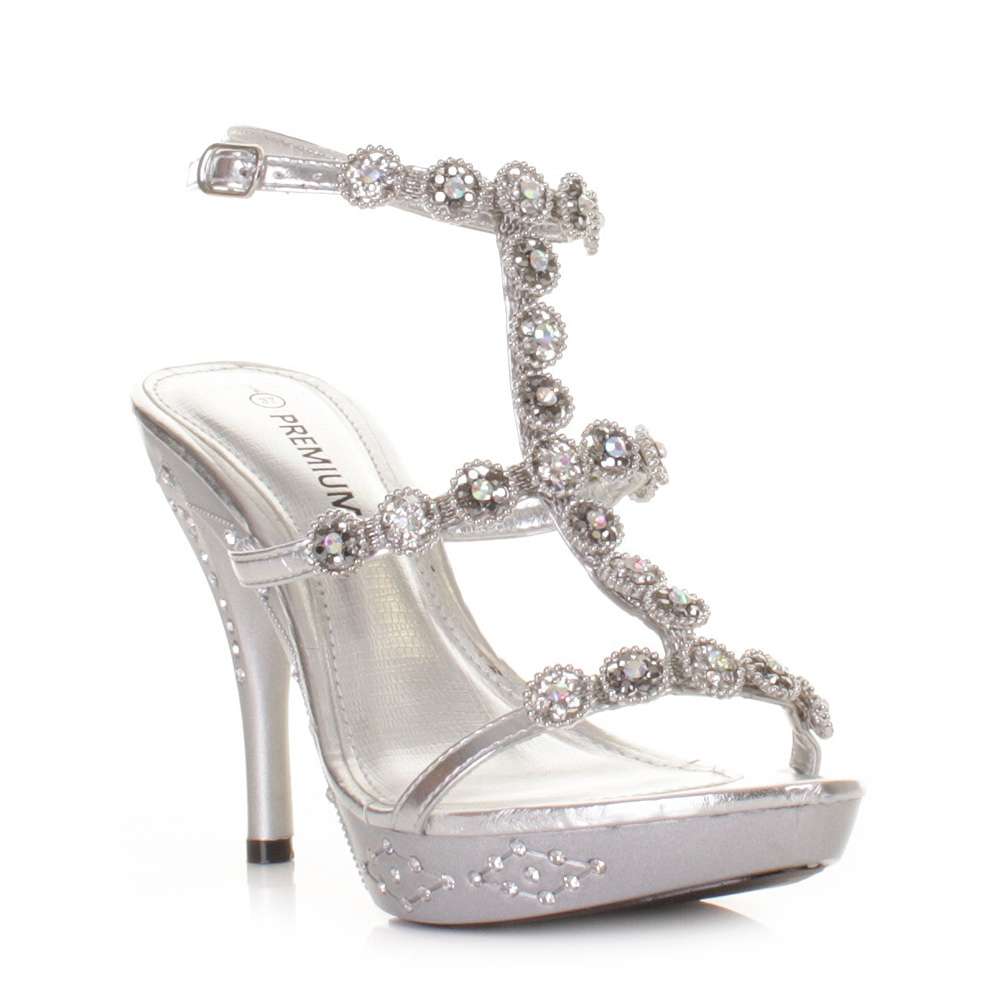 Womens Gold High Heel Ankle Strap Evening Wedding Prom Shoes Size 3 8