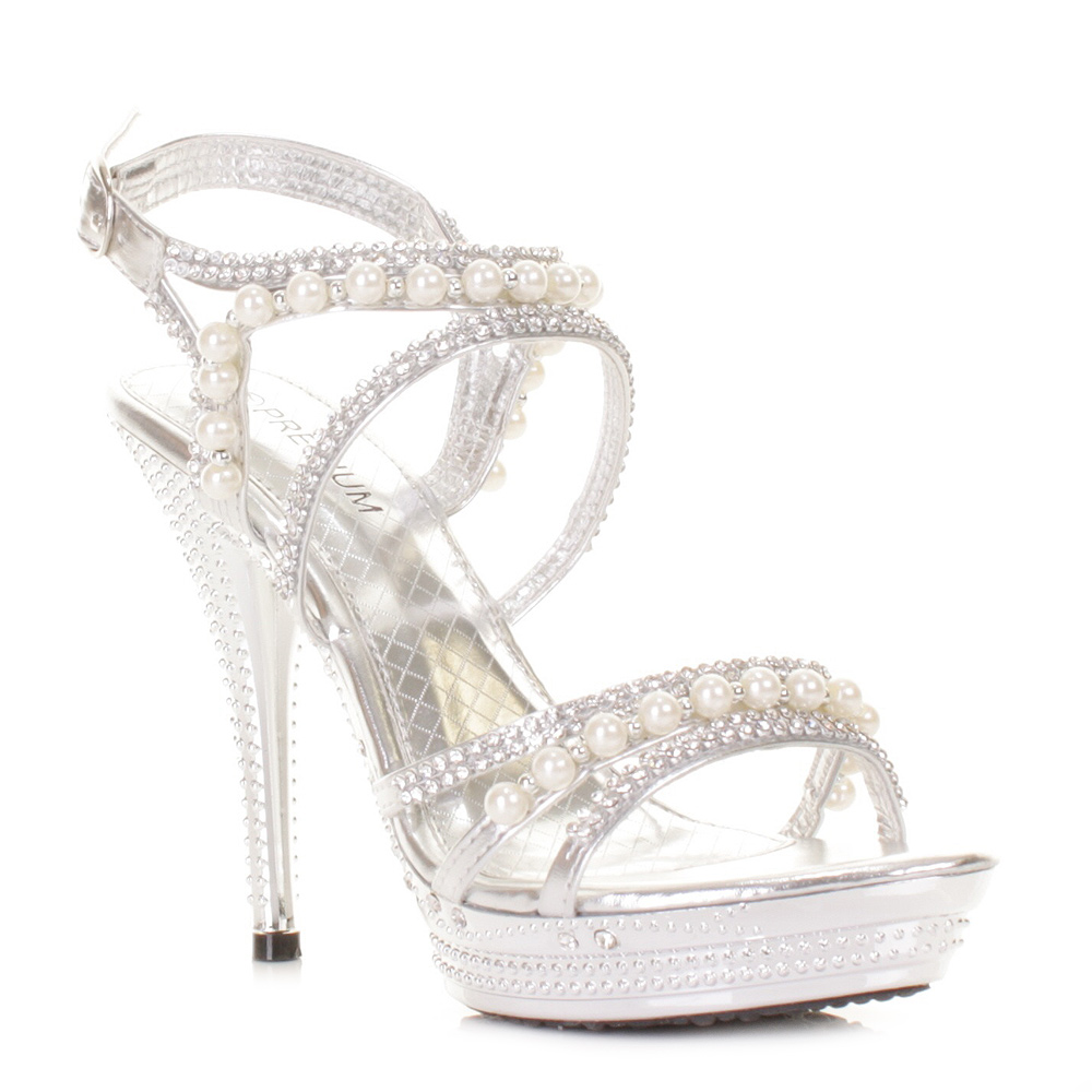 Womens Silver Diamante Wedding Party Pearl High Heel Platform Shoes Size 3 8