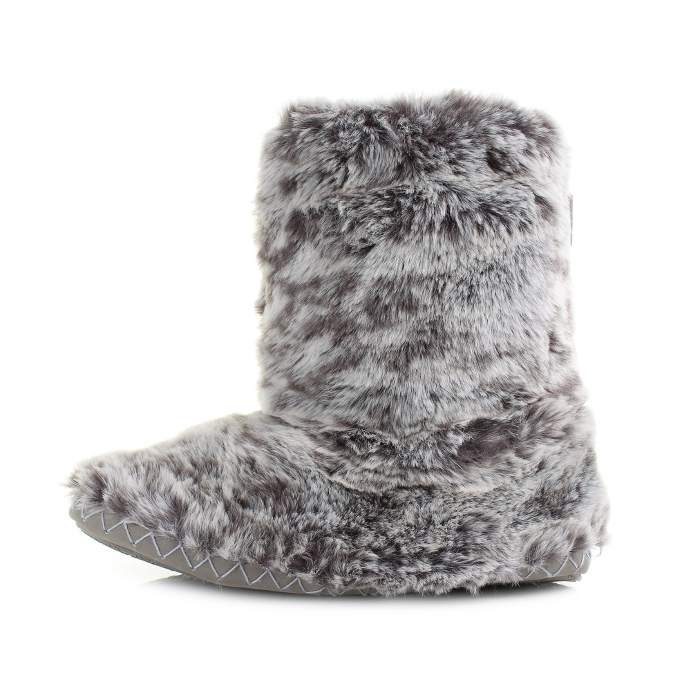 Womens Bedroom Athletics Cole Snowy Owl Luxury Faux Fur Slipper Boots Size