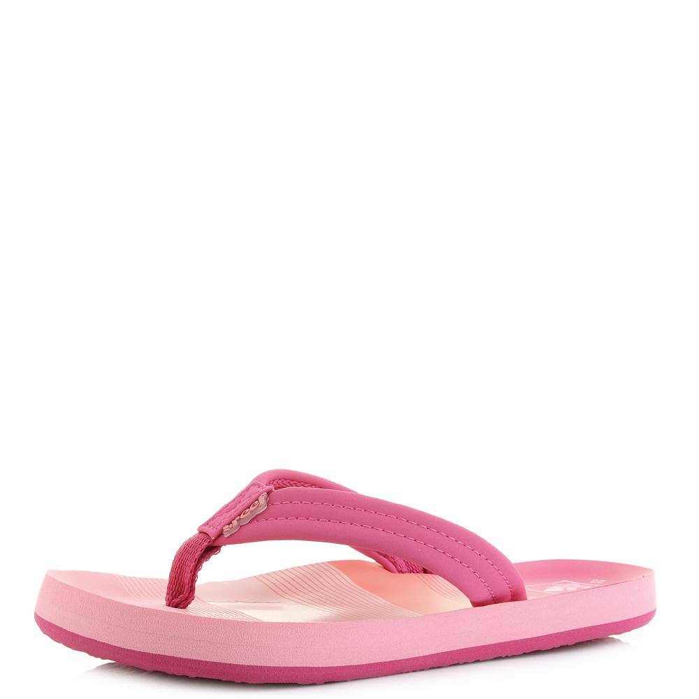 2dc2302a963c Details about Kids Girls Reef Little AHI Pink Stripes Toe Post Flip Flops  Size