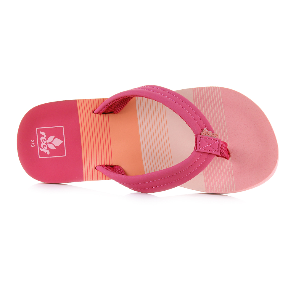 6b6523c7d5a9 The Reef girls Flip Flops are all created with maximum durability and  comfort. This little AHI Purple Hearts features a bright eye catching print  with ...