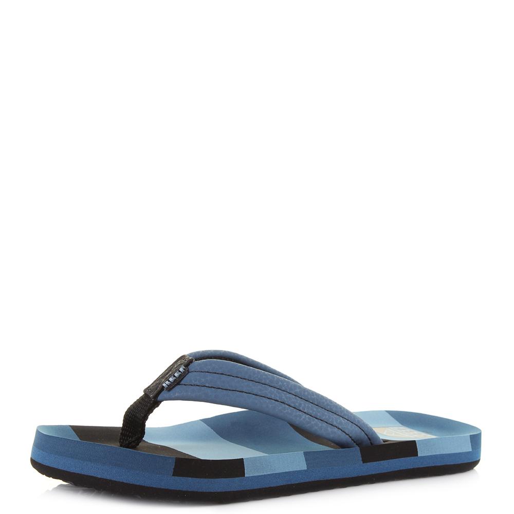 6aff953fd0e3 Kids Boys Reef AHI Blue Lines Comfort Beach Flip Flop Sandals Size ...