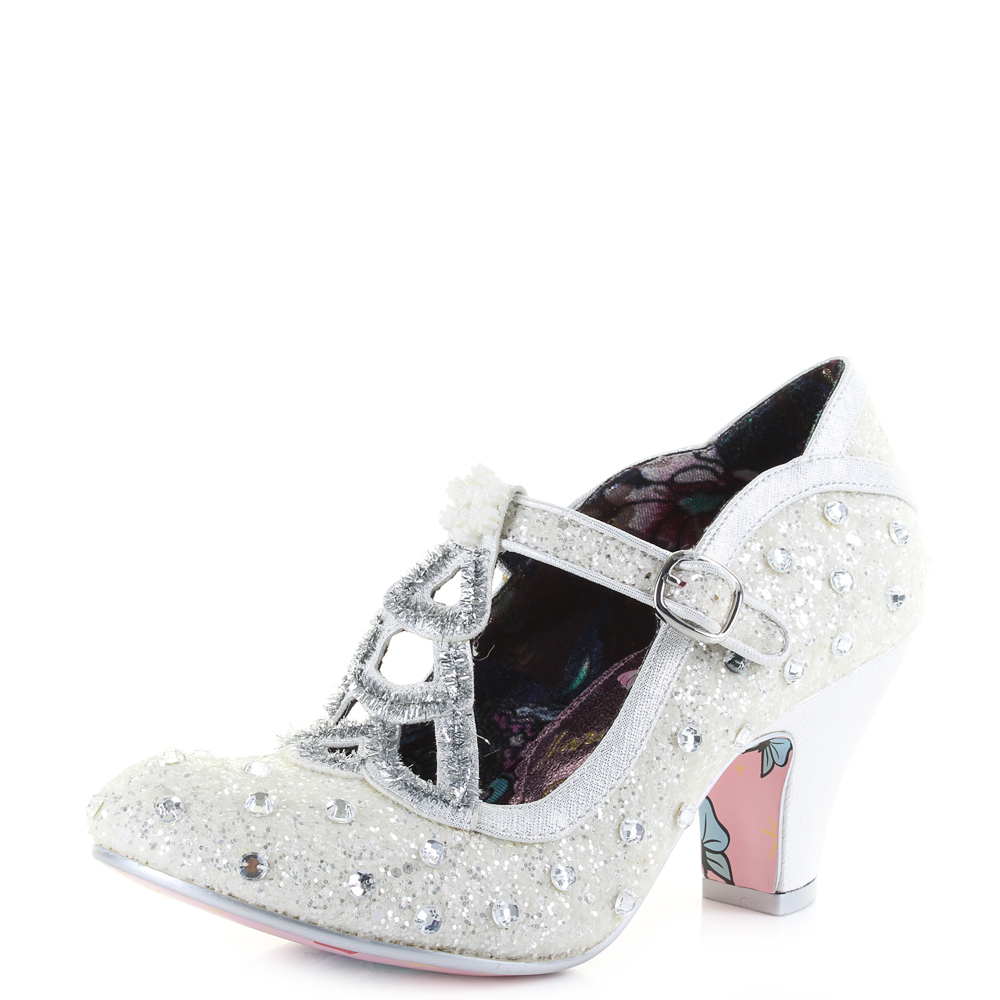 Womens Irregular Choice Icely Festive White Silver Heeled Court Shoes Size