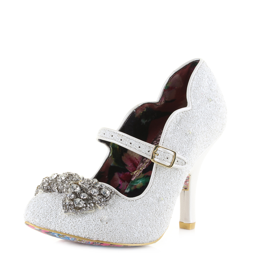 Irregular Choice Shimmer Glittery Light Up Womens High Heel Shoes (Ivory)RRP£129