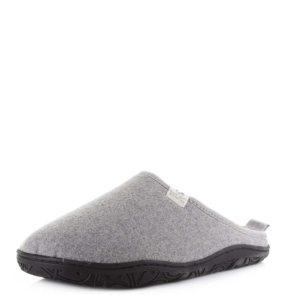 mens bedroom athletics franco grey marl fleece lined slip on slippers uk size ebay. Black Bedroom Furniture Sets. Home Design Ideas