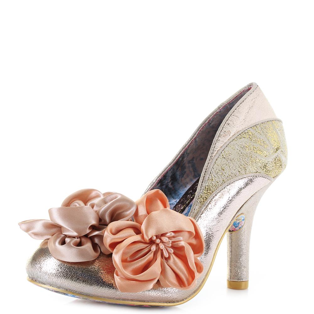 05ed86ae739ad Womens irregular choice peach melba rose gold high heel floral shoes shu  size jpg 1000x1000 Rose