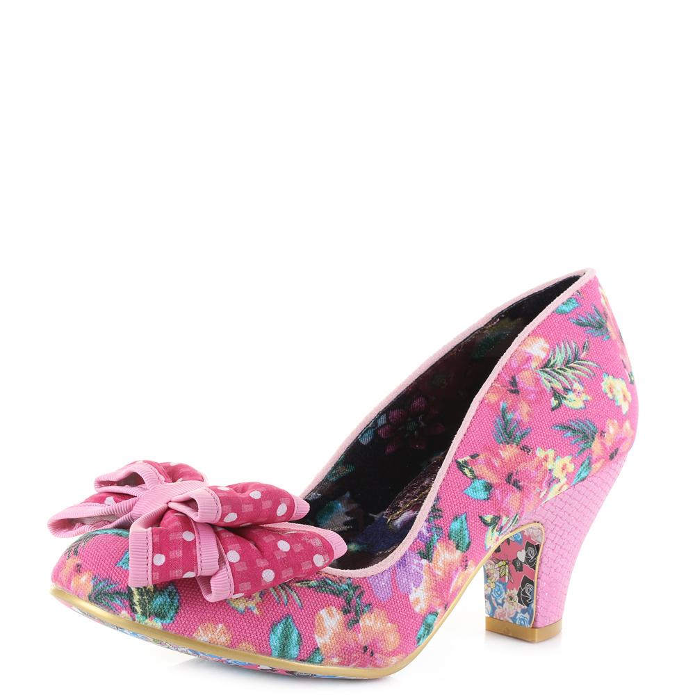 Womens Irregular Choice Ban Joe Pink Floral Polka Dot Bow Mid Heel