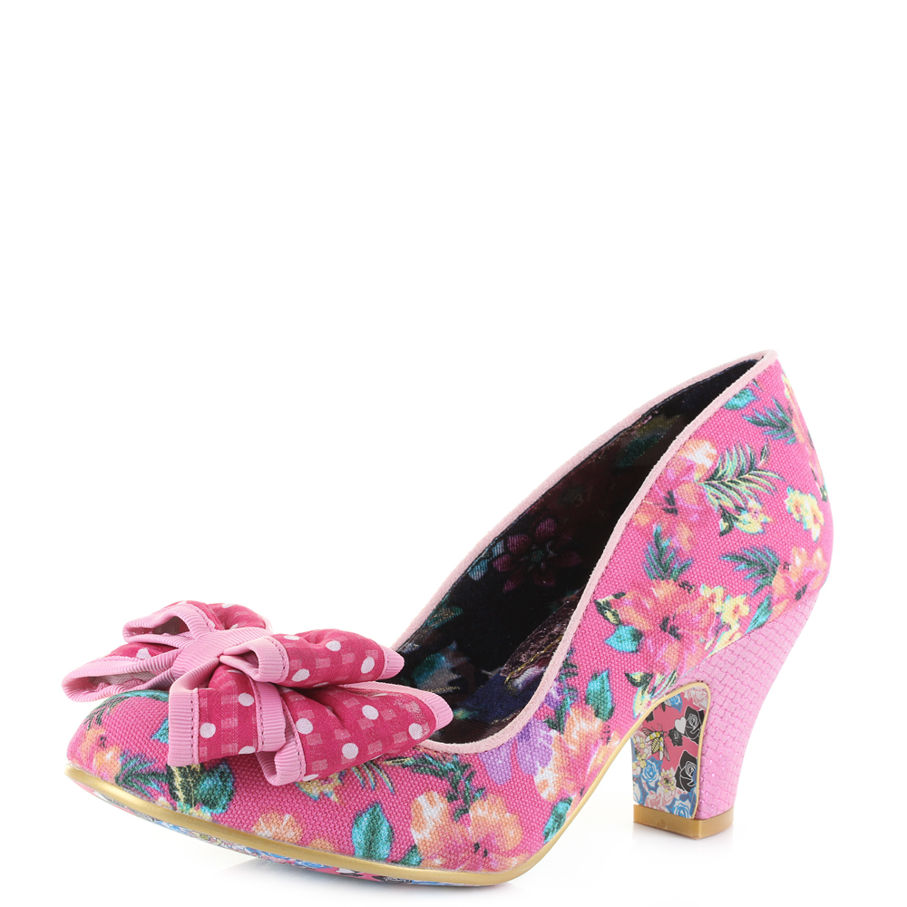 Womens irregular choice ban joe pink floral polka dot bow mid heel womens irregular choice ban joe pink floral polka dot bow mid heel shoes sz size mightylinksfo