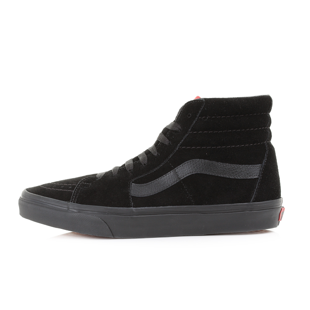 710fe1597aa938 Mens Vans Sk8 Hi Black Black Suede Casual Leather High Top Trainers ...